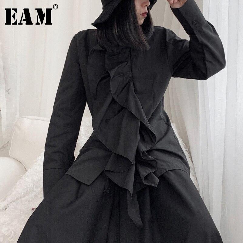 [EAM] Women Black Ruffles Split Blouse New Stand Collar Long Sleeve Loose Fit Shirt Fashion Tide Spring Autumn 2020 19A-a675