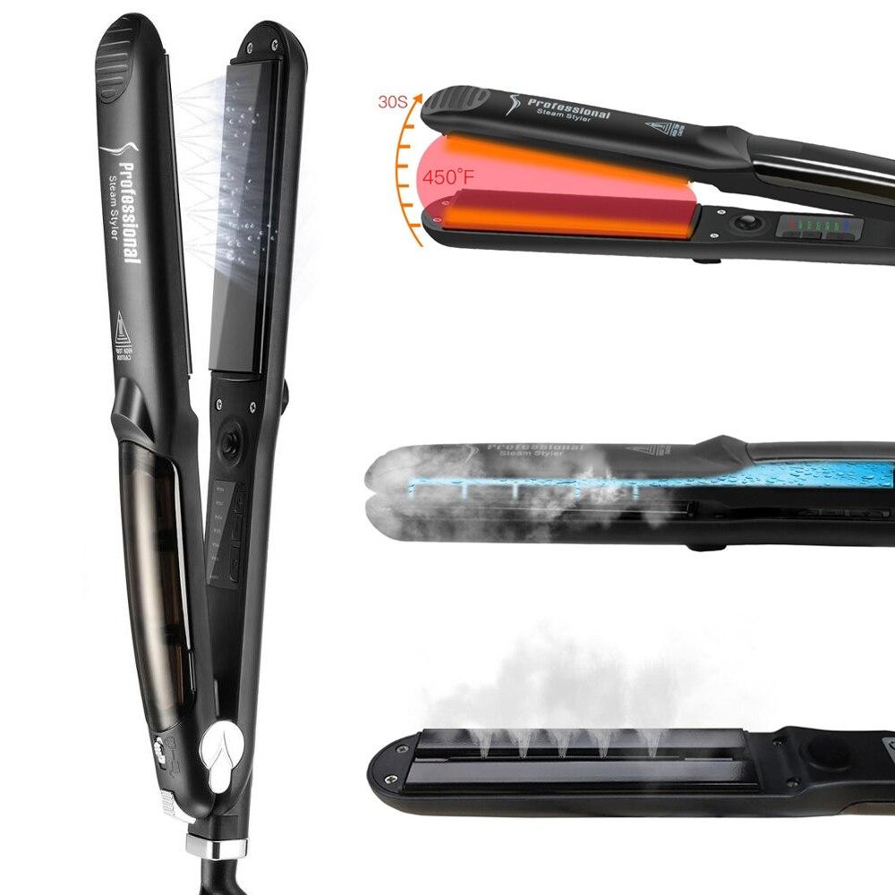 Professional Steam Hair Straightener Curler Argan Oil Treatment 450F Fast Heating Tourmaline Ceramic Iron Hair Care Styling Tool