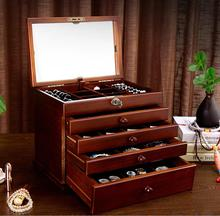 the mirror Solid wood wooden box makeup Storage Boxes jewerly box organizer retro style large multilayer marriage holiday gift