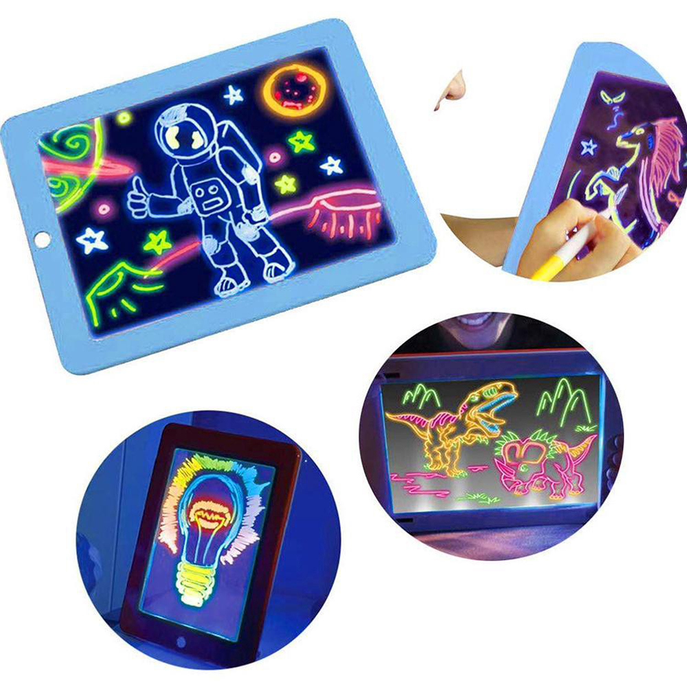 Drawing Toys Sketchpad 3D Luminescent Drawings Board Magic Luminous Children Reuse Create Art That Glows Writing Creative Shiny