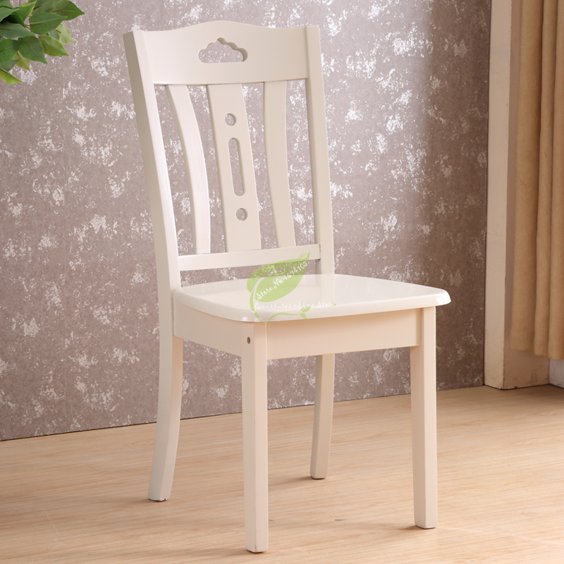 Full Wood Dining Chair Household Simple Modern New Chinese Backrest Chair White Stool Hotel Hotel Log Chair