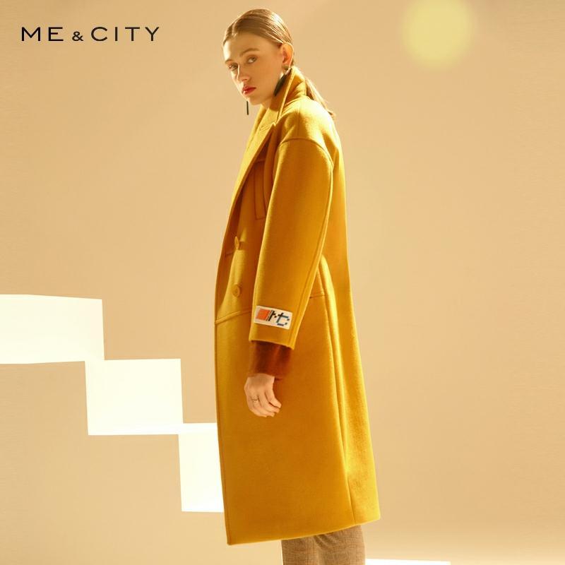 Me&city 2019 Women Woolen Coat Outerwear Winter Clothing Office Lady Coat Fashion Warm Slim Elegant Retro Coat