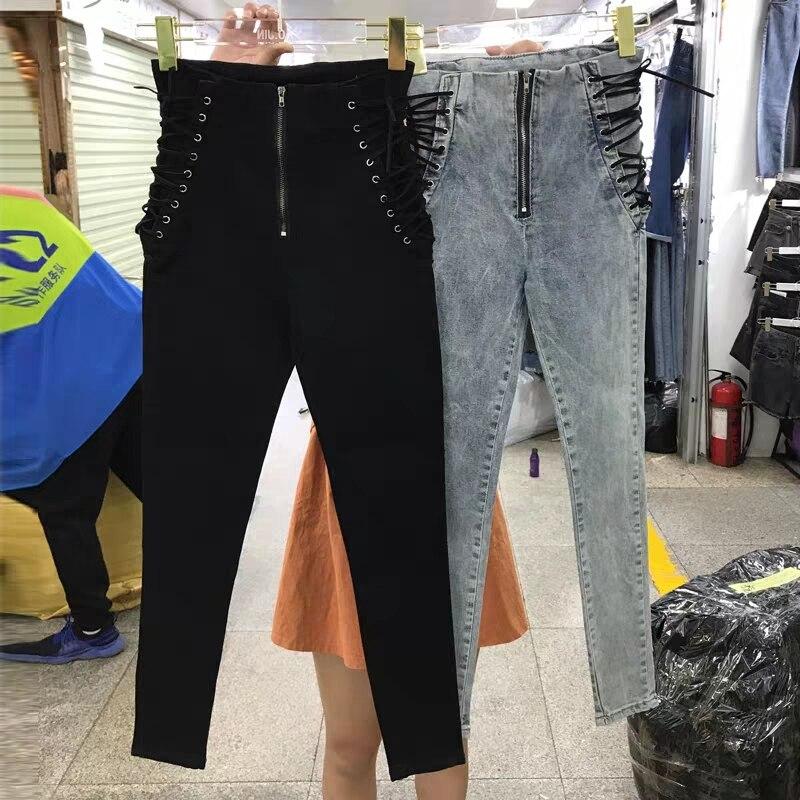 2019 New Women Fashion New Jeans Ankle-length Pants Europe Hot Sale Lace-Up Bowknot Slim Pencil Pants Stylish Panter Female
