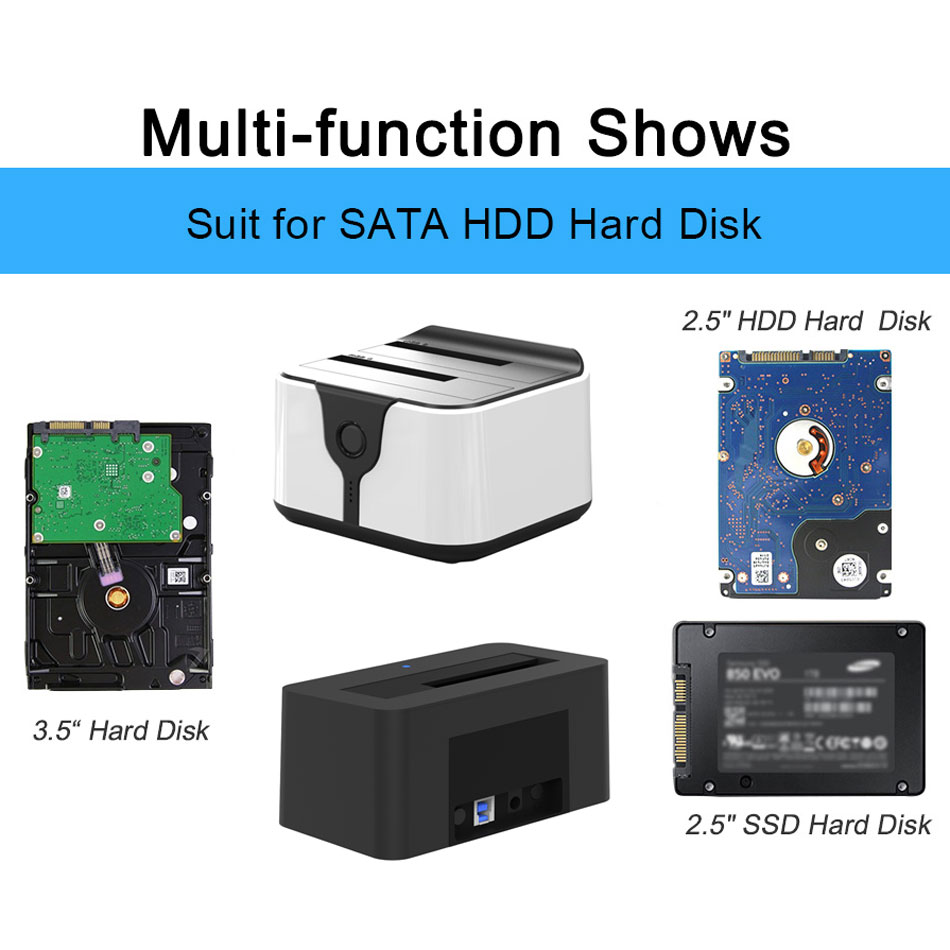 2 Bay SATA USB 3.0 SSD Enclosure HDD Case Usb Hdd Enclosure External Hard Drive Docking for 2.5/3.5inch HDD/SSD Offline Clone