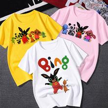 Bing meninos dos desenhos animados t camisa para meninas 2021 manga curta verão tecido macio crianças camisa de fundo 7 anos de idade roupas da menina do bebê topos