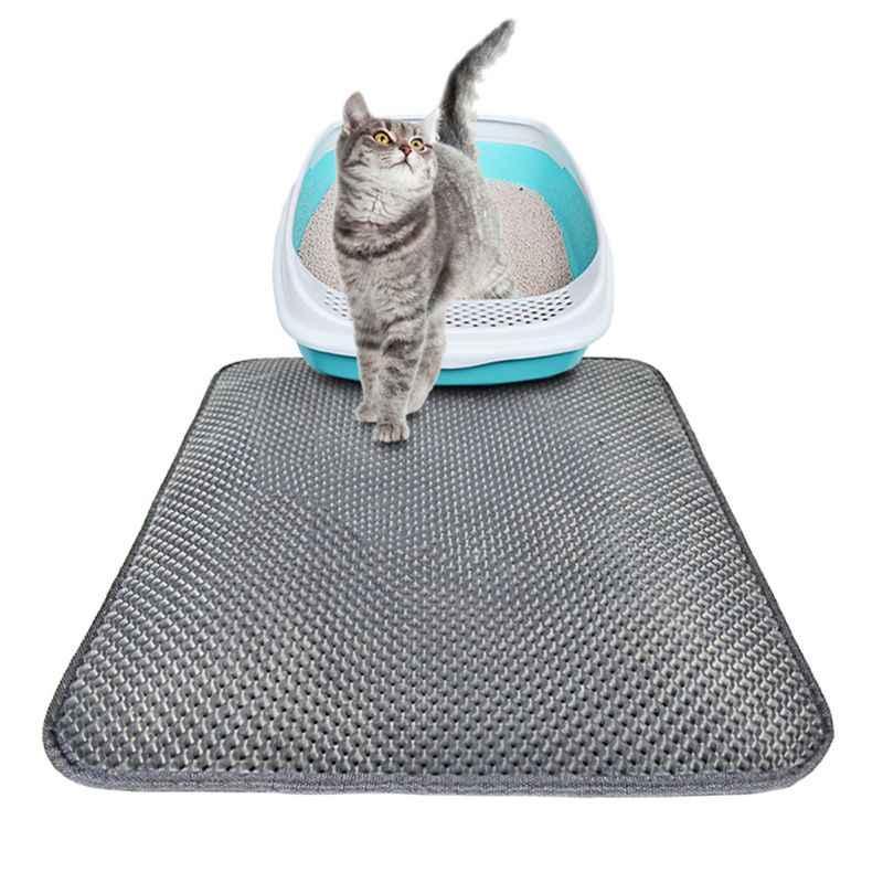 Su geçirmez Pet kedi kumu matı EVA çift katmanlı kedi çöp yakalama Pet çöp kedi matı temiz ped ürünleri kediler aksesuarları