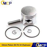 1 conjunto de 34mm pistão kit apto gaslione chinsaw 34 motosserra peças reposição conjunto kit pistão