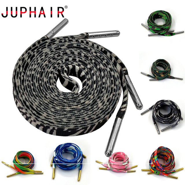 JUPHAIR Custom Flat Shoelaces with Gold Silver Metal Tip Casual Shoes Shoelace Rainbow Colorful Flag Zebra Print Shoe Laces Rope
