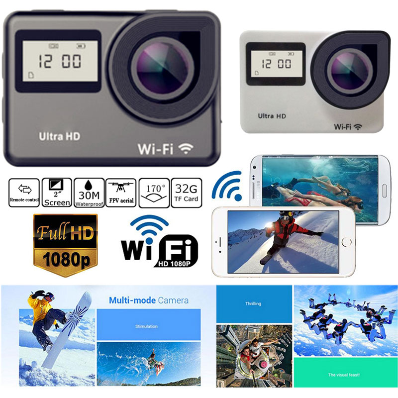 H1 1080PHD WIFI 170° Camera COMS Sensor 170° Digital Video Camera Touch Dual-screen Underwater Camera Sport Cam