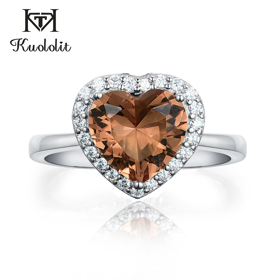 Kuololit Zultanite Gemstone Ring For Women Solid 925 Sterling Silver Created Color Change Heart Shape Stone Ring Fine Jewelry