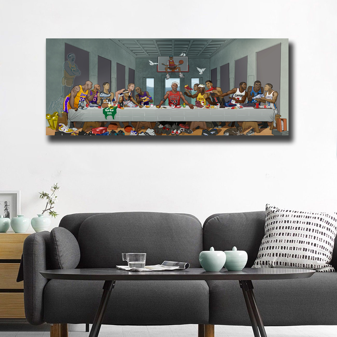 Basketball Players Last Supper Painting Printed on Canvas
