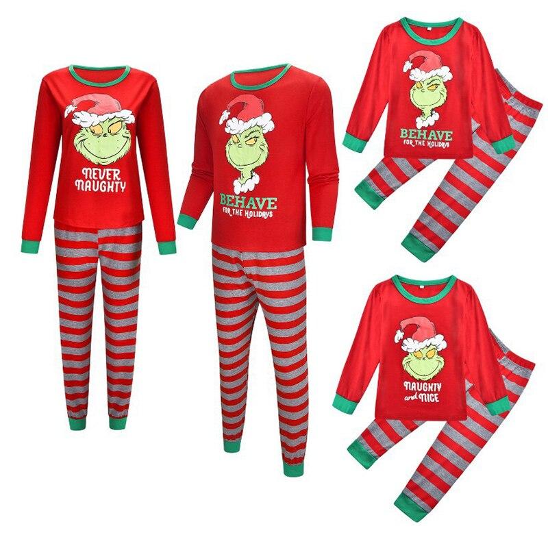 Grinch pyjamas garçons tenues Mobs imprimé automne et hiver Service à domicile pyjamas Style chaud costume chapeau de noël Parent enfant vêtements