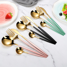 Gold-Cutlery-Set Fork-Spoon Dinnerware Stainless-Steel Black 1 4pcs/Set 18/10