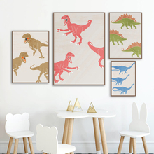 Watercolor Dinosaur Animal Print Nursery Wall Art Canvas Painting Nordic Posters And Prints Pictures Baby Kids Room