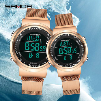 Sanda Couple Watch 2020 Mens Watches Top Brand Luxury Digital Watch Women Clock Ladies Dress Fashion Casual  Lovers Wristwatch couple watches for lovers luxury wood watch mens fashion wooden women dress clocks gifts for valentine s day relogio de casal