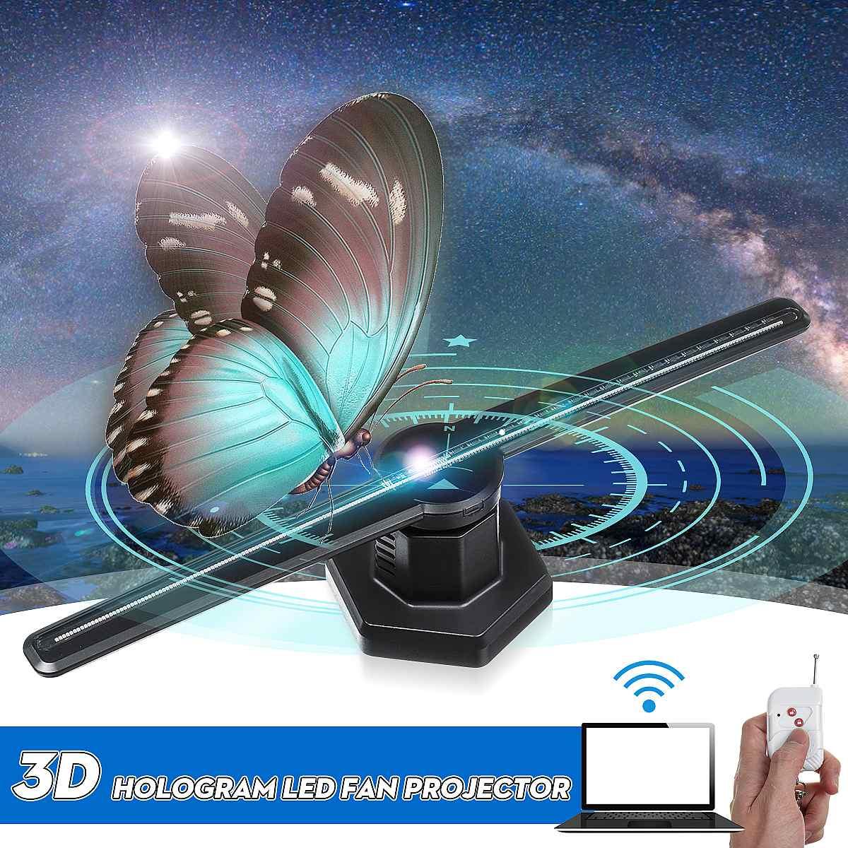 224LED AC 100-240V Wifi 3D holographique projecteur hologramme lecteur LED affichage imagerie lampe ventilateur publicité lumière télécommande