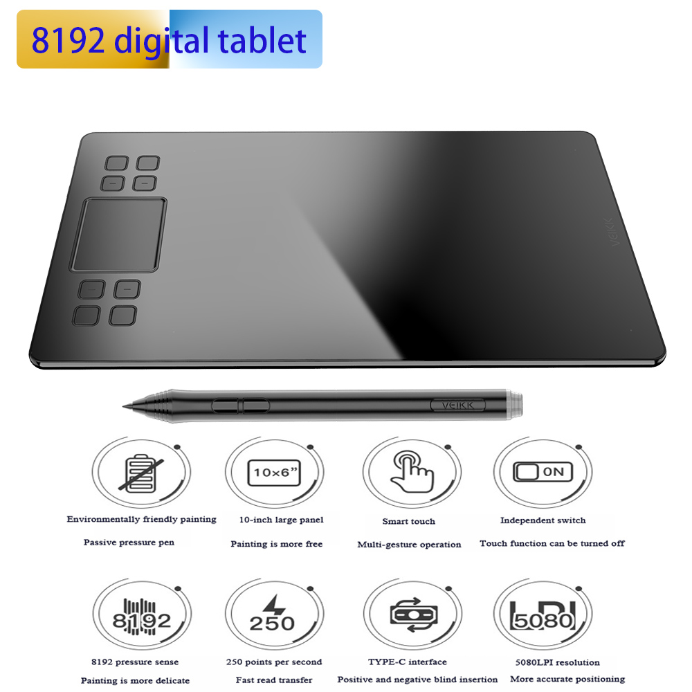 VEIKK New 1060 Plus 8192 Levels Digital Tablet Graphics Drawing Tablets Animation Drawing Board Pen Tablet