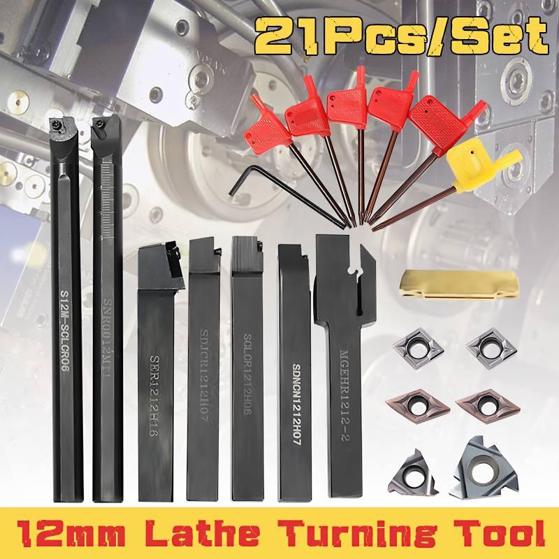 Juego de 21 Uds. De herramientas de torneado de torno, 10MM, 12MM, barra de perforación, insertos de carburo DCMT, llave para herramienta de torneado de torno