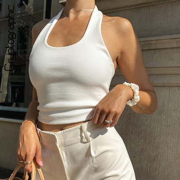 Cryptographic White Halter Sexy Backless Tank Tops for Women Streetwear 2020 Sleeveless Ribbed Knit Vest Top Cropped Feminino