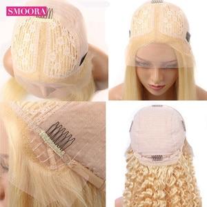 Image 5 - 613 Deep Wave Lace Frontal Wigs Brazilian Remy Human Hair Glueless Deep Part 28 Inch Long Wigs 13*1 Light Blonde 150%