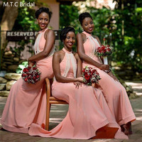 Dusty Pink Long Mermaid African Bridesmaid Dresses With Pearls High Neck Sleeveless Plus Size Black Girls Wedding Party Dress