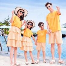 Одинаковые комплекты для семьи летняя мама дочка платье футболка