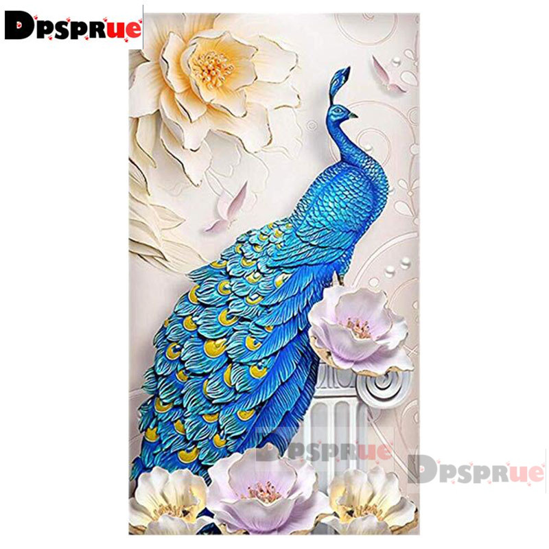 Dpsprue Full Square Round Diamond Painting Kit Cross Stitch Beautiful peacock Pink Diamond 3D Embroidery DIY 5D Moasic Gift 02 in Diamond Painting Cross Stitch from Home Garden