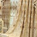 Европейские и американские роскошные высококачественные элегантные бежевые затемненные шторы из синели с вышивкой для гостиной, окна, спа...
