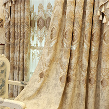 European and American luxury high quality elegant beige chenille embroidered blackout curtains for living room windows bedroom
