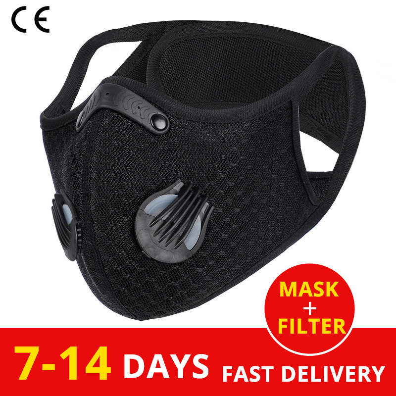 Sport Cycling Face Mask Activated Carbon Filter Dust Mask Pm 2.5 Anti-Pollution Running Training Mtb Road Bike Cycling Mask