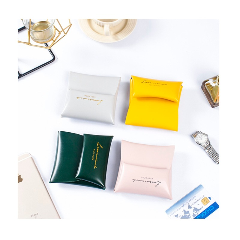 New Style Leather Change Wallet Fashion Pu Thick Leather Card Holder Hide Substance Earphones Storage Bag Of Data Cable