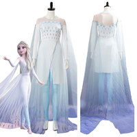 Snow Queen Elsa Ahtohallan Cave Cosplay Costume White Gown Female Women Girl Halloween Carnival Party Dress