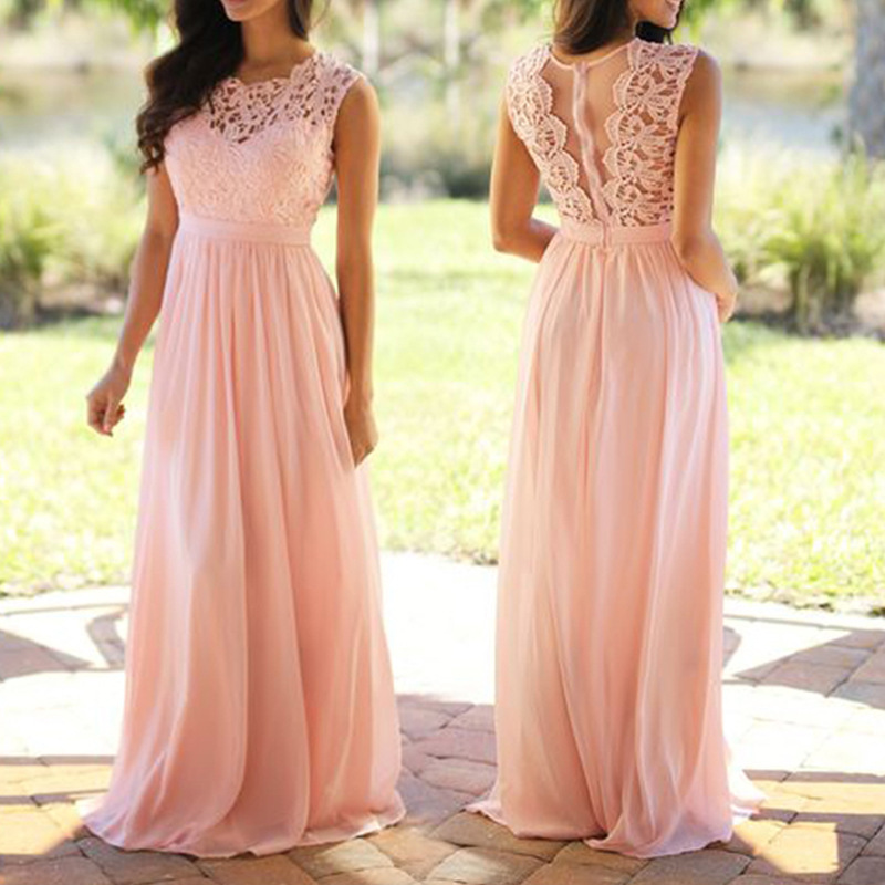 Pink Lace Hollow Out Formal Evening Dresses Long Women O Neck Sleeveless Pleated Chiffon Sexy Party Dresses Summer Vestido Rosa