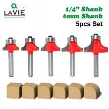"""5 stuks 6mm 1/4 """"Schacht Hoek Ronde Over Router Bit met Lager Reiniging Flush Frees voor Hout houtbewerking Tool MC01065"""