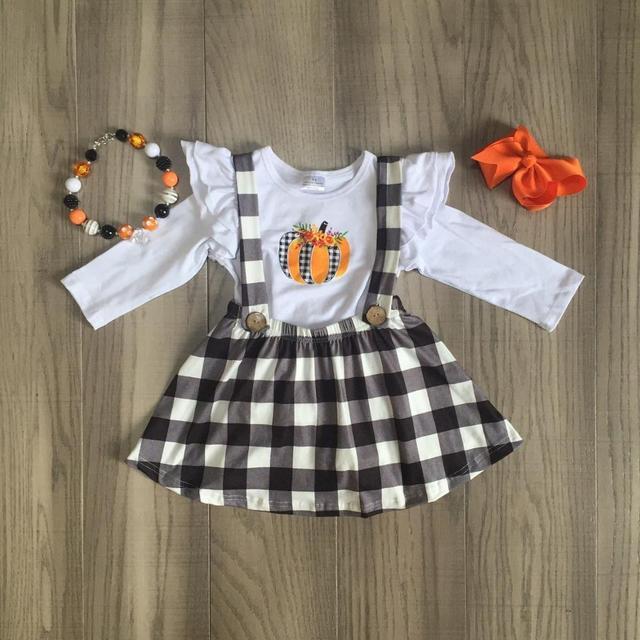 children girls 2 pcs clothes girls fall dress girls Halloween tee kids plaid dress pumpkin print with accessories