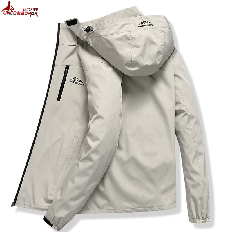 Men's Casual Waterproof Jacket Men Spring Autumn Tourism Windbreaker Bomber Jacket Male Raincoat Windproof Hooded Coat L~5XL
