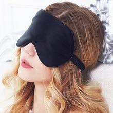 OPHAX Black Sleep Mask For Sleeping Silk Eye Mask Sleep Blindfold Mulberry Silk Eyeshade Eyes Cover Bandage Smooth Rest Aid