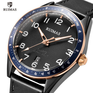 Image 2 - RUIMAS Fashion Mens Watches Luxury Leather Strap Quartz Watch Man Top Brand Military Sports Wristwatch Relogios Masculino 573