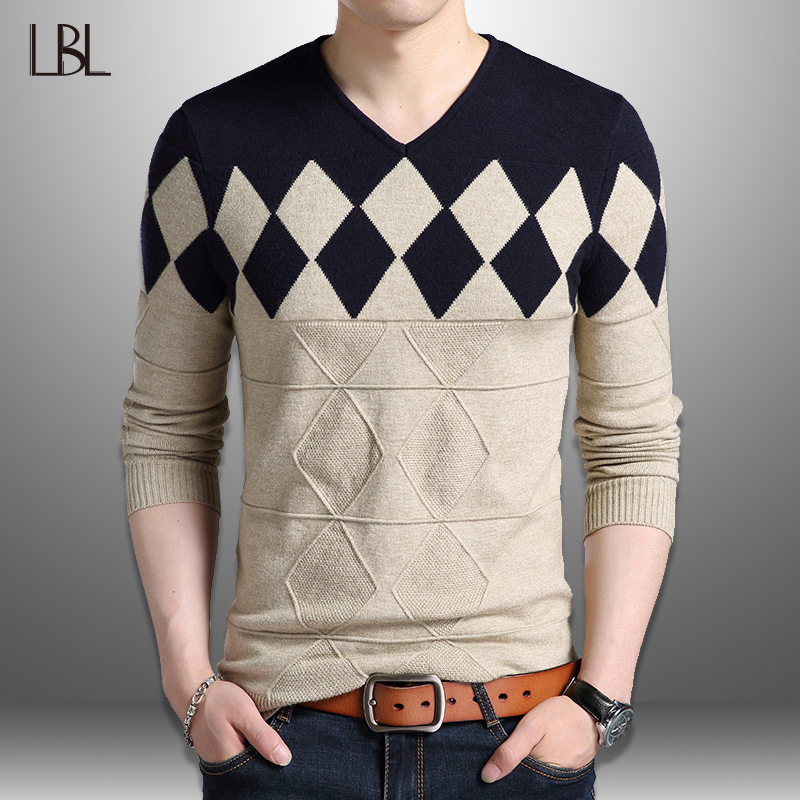 Cashmere Wool Sweater Men Outwear 2019 Autumn Winter Slim Fit Plaid Pullovers Men Casual V-Neck Pull Homme Sweaters Knitting 3XL