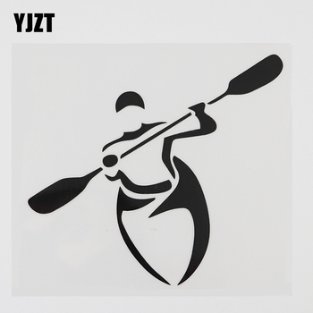YJZT 13.8CMX12.8CM Creative Kayak Paddles Boat Decal Vinyl Car Sticker Black/Silver 8A-1090 image