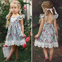 цена на 2020 NEW Girl Dress Princess Dress Children Clothes Flower Dresses Baby Girl Clothes Summer Girls Dresses Cotton Party Dress