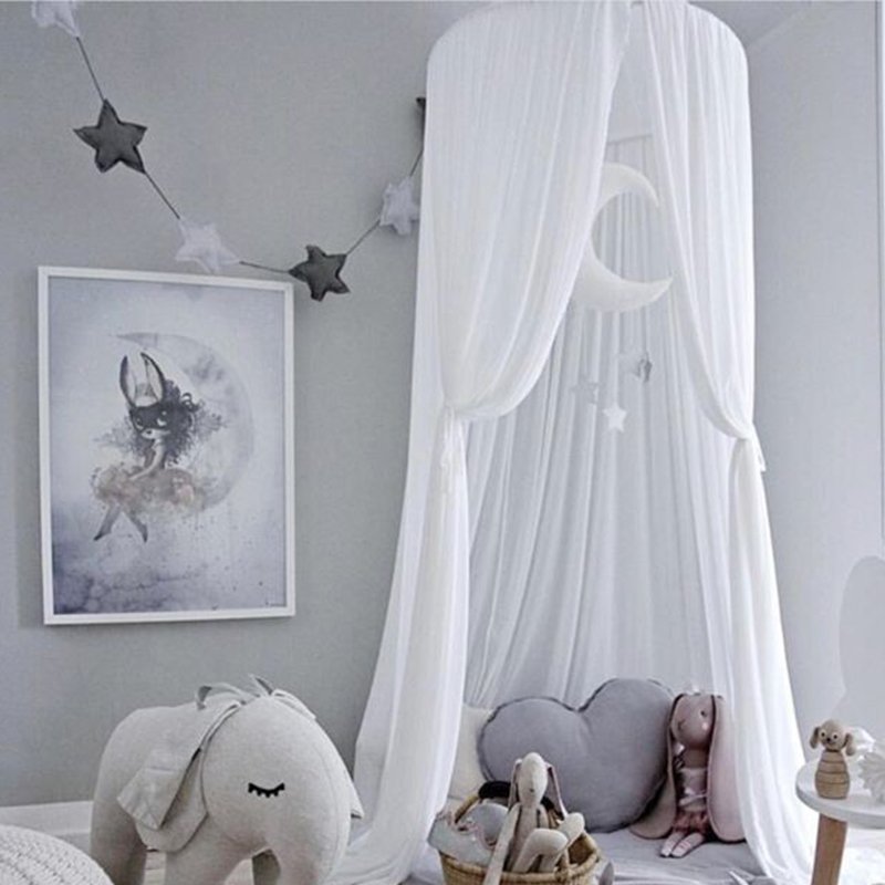 Hanging Baby Bed Canopy Mosquito Net Curtain Tent Baldachin Baby Crib Netting Round Hung Kids Canopy Tent Children Room Decor