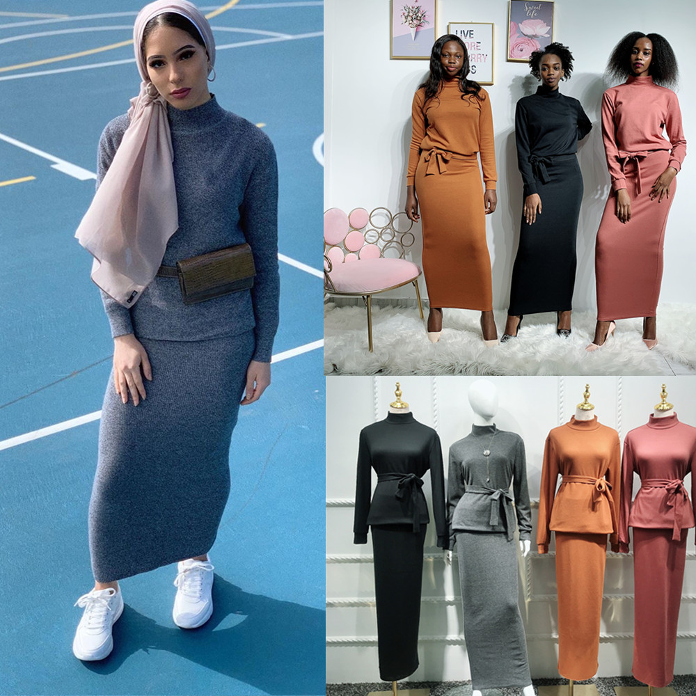 Knit Abaya Turkish Muslim Hijab Dress Tops Skirts Set Caftan Marocain Kaftan Dubai Islam Clothing For Women Vetment Femme Hijab