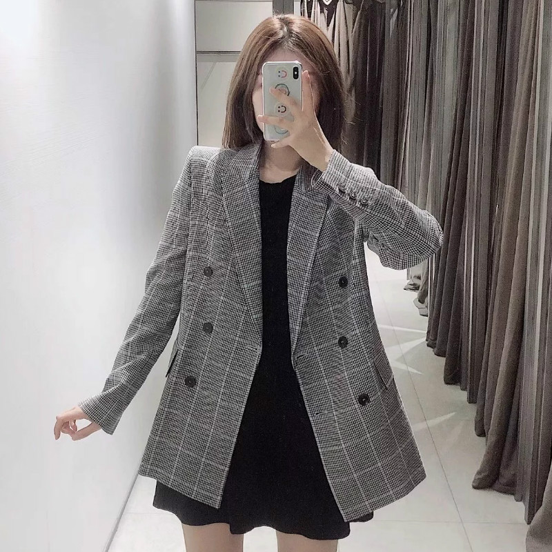 Casual Wild Women's Blazer Retro New Autumn Double-breasted Long Plaid Ladies Blazer Female Office Suit High Quality 2019