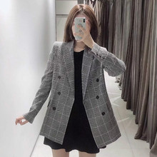 Casual wild women's blazer Retro new autumn double-breasted long plaid ladies blazer Female office suit high quality 2019 цена