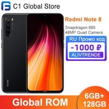 Rom global xiaomi redmi nota 8 6gb ram 128gb rom snapdragon 665 octa núcleo 6.3