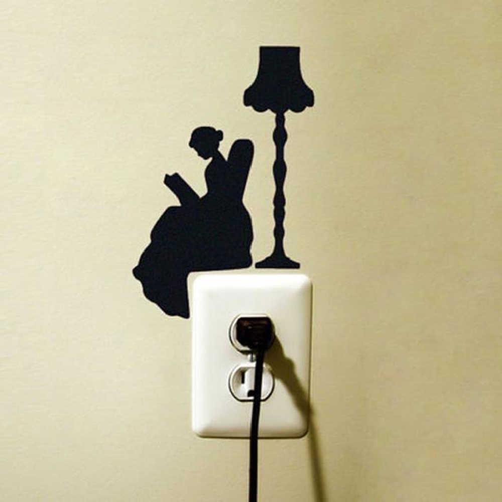 DIY อุปกรณ์ตกแต่งห้องนั่งเล่นเครื่องประดับภาพจิตรกรรมฝาผนังสาวสุภาพบุรุษ Decals การ์ตูนหลากหลายรูปแบบตลกสติกเกอร์สวิทช์