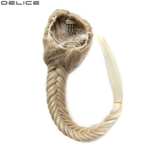 Delice Womens Clip In Braided Hair Fishtail Ponytails With Elastic Drawstring Rope Synthetic Straight Braids Ponytail 20