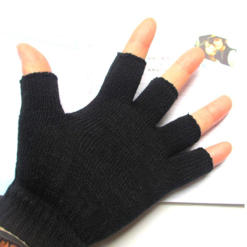 Women Men Unisex Black Half Finger Gloves Ribbed Knit Stretch Fingerless Mittens 95AB