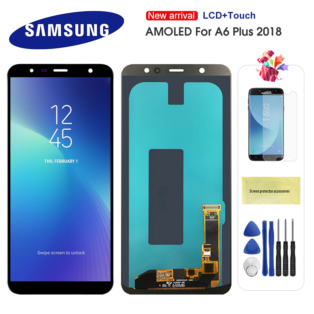 Super AMOLED LCD For Samsung Galaxy A6 Plus 2018 A605 A605F A605FN Screen LCD Display Touch Screen Assembly Replacment Parts